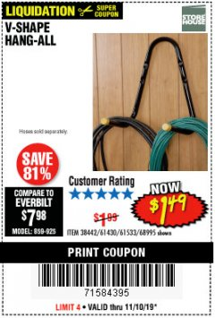Harbor Freight Coupon V-SHAPE HANG-ALL Lot No. 38442/61430/61533/68995 Expired: 11/10/19 - $1.49