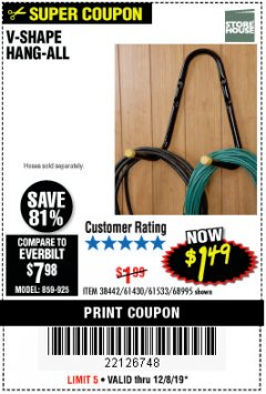 Harbor Freight Coupon V-SHAPE HANG-ALL Lot No. 38442/61430/61533/68995 Expired: 12/8/19 - $1.49