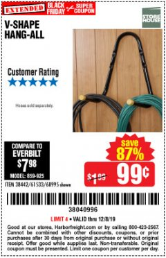 Harbor Freight Coupon V-SHAPE HANG-ALL Lot No. 38442/61430/61533/68995 Expired: 12/8/19 - $0.99