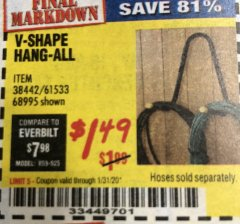 Harbor Freight Coupon V-SHAPE HANG-ALL Lot No. 38442/61430/61533/68995 Expired: 1/31/20 - $1.49