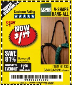 Harbor Freight Coupon V-SHAPE HANG-ALL Lot No. 38442/61430/61533/68995 Expired: 2/8/20 - $1.49