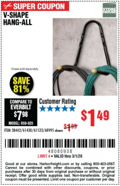 Harbor Freight Coupon V-SHAPE HANG-ALL Lot No. 38442/61430/61533/68995 Expired: 3/1/20 - $1.49