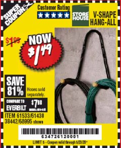 Harbor Freight Coupon V-SHAPE HANG-ALL Lot No. 38442/61430/61533/68995 Expired: 6/30/20 - $1.49