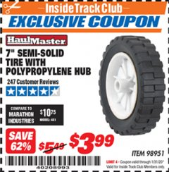 "Harbor Freight ITC Coupon 7"" SEMI-SOLID TIRE WITH POLYPROPYLENE HUB Lot No. 98951 Expired: 1/31/20 - $3.99"