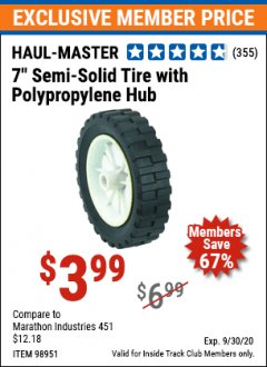 "Harbor Freight ITC Coupon 7"" SEMI-SOLID TIRE WITH POLYPROPYLENE HUB Lot No. 98951 Expired: 9/30/20 - $3.99"
