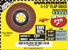 "Harbor Freight Coupon 4.5"" FLAP DISCS Lot No. 67639/61500/69602/67637/69604 Expired: 2/1/20 - $2.99"