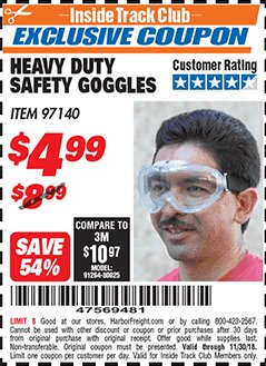 Harbor Freight ITC Coupon HEAVY DUTY SAFETY GOGGLES Lot No. 97140 Expired: 11/30/18 - $4.99