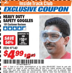 Harbor Freight ITC Coupon HEAVY DUTY SAFETY GOGGLES Lot No. 97140 Expired: 2/28/19 - $4.99