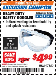 Harbor Freight ITC Coupon HEAVY DUTY SAFETY GOGGLES Lot No. 97140 Expired: 11/30/19 - $4.99