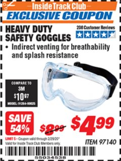 Harbor Freight ITC Coupon HEAVY DUTY SAFETY GOGGLES Lot No. 97140 Valid: 2/1/20 - 2/29/20 - $4.99