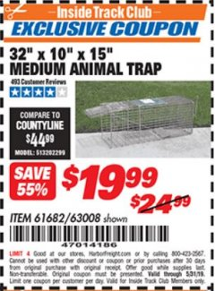 "Harbor Freight ITC Coupon 32"" X 10"" X 15"" MEDIUM ANIMAL TRAP Lot No. 61682/63008 Expired: 5/31/19 - $19.99"