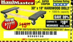 Harbor Freight Coupon HARDWOOD MOVER'S DOLLY Lot No. 61897/39757/38970/60496/62398/92486 Expired: 6/30/20 - $11.99