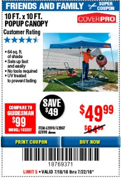 Harbor Freight Coupon COVERPRO 10 FT. X 10 FT. POPUP CANOPY Lot No. 62898/62897/62899/69456 Expired: 7/22/18 - $49.99
