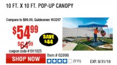 Harbor Freight Coupon COVERPRO 10 FT. X 10 FT. POPUP CANOPY Lot No. 62898/62897/62899/69456 Expired: 8/31/18 - $54.99
