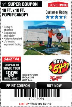 Harbor Freight Coupon COVERPRO 10 FT. X 10 FT. POPUP CANOPY Lot No. 62898/62897/62899/69456 Expired: 3/31/19 - $54.99