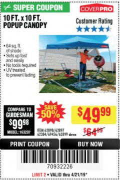 Harbor Freight Coupon COVERPRO 10 FT. X 10 FT. POPUP CANOPY Lot No. 62898/62897/62899/69456 Expired: 4/21/19 - $49.99