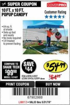 Harbor Freight Coupon COVERPRO 10 FT. X 10 FT. POPUP CANOPY Lot No. 62898/62897/62899/69456 Expired: 5/31/19 - $54.99