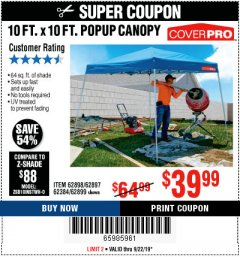 Harbor Freight Coupon COVERPRO 10 FT. X 10 FT. POPUP CANOPY Lot No. 62898/62897/62899/69456 Expired: 9/22/19 - $39.99