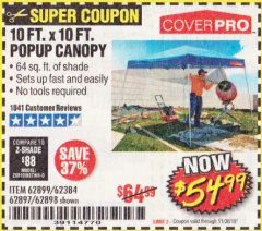 Harbor Freight Coupon COVERPRO 10 FT. X 10 FT. POPUP CANOPY Lot No. 62898/62897/62899/69456 Expired: 11/30/19 - $54.99