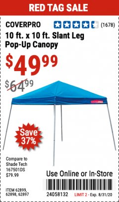 Harbor Freight Coupon COVERPRO 10 FT. X 10 FT. POPUP CANOPY Lot No. 62898/62897/62899/69456 Expired: 8/31/20 - $49.99