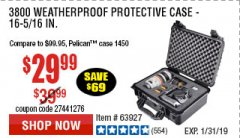 Harbor Freight Coupon APACHE 3800 WEATHERPROOF PROTECTIVE CASE Lot No. 63927 Expired: 1/31/19 - $29.99