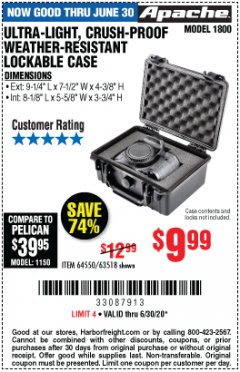 Harbor Freight Coupon APACHE 1800 WEATHERPROOF PROTECTIVE CASE Lot No. 64550/63518 EXPIRES: 6/30/20 - $9.99