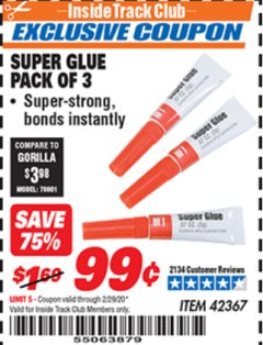 Harbor Freight ITC Coupon SUPER GLUE PACK OF 3 Lot No. 42367 Expired: 2/29/20 - $0.99