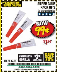 Harbor Freight Coupon SUPER GLUE PACK OF 3 Lot No. 42367 Expired: 6/30/20 - $0.99
