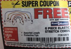 Harbor Freight FREE Coupon 6 PIECE ELASTIC STRETCH CORDS Lot No. 63979 Expired: 2/14/19 - FWP