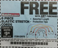 Harbor Freight FREE Coupon 6 PIECE ELASTIC STRETCH CORDS Lot No. 63979 Expired: 6/24/19 - FWP