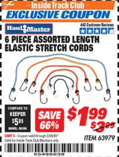 Harbor Freight ITC Coupon 6 PIECE ELASTIC STRETCH CORDS Lot No. 63979 Expired: 2/29/20 - $1.99