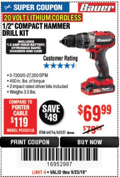 "Harbor Freight Coupon BAUER 20 VOLT CORDLESS 1/2"" COMPACT HAMMER DRILL KIT Lot No. 63527 Expired: 9/23/18 - $69.99"