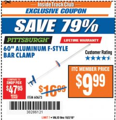 "Harbor Freight ITC Coupon 60"" ALUMINIUM F-STYLE BAR CLAMP Lot No. 60673 Expired: 10/2/18 - $9.99"