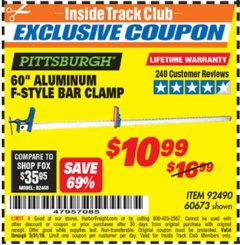 "Harbor Freight ITC Coupon 60"" ALUMINIUM F-STYLE BAR CLAMP Lot No. 60673 Expired: 5/31/19 - $10.99"
