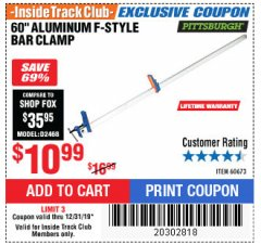 "Harbor Freight ITC Coupon 60"" ALUMINIUM F-STYLE BAR CLAMP Lot No. 60673 Expired: 12/31/19 - $10.99"