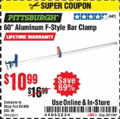 "Harbor Freight Coupon 60"" ALUMINIUM F-STYLE BAR CLAMP Lot No. 60673 Expired: 9/21/20 - $10.99"