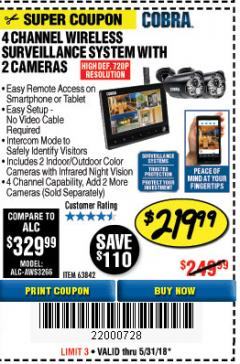 Harbor Freight Coupon 4 CHANNEL WIRELESS SURVEILLANCE SYSTEM WITH 2 CAMERAS Lot No. 63842 Expired: 5/31/18 - $219.99
