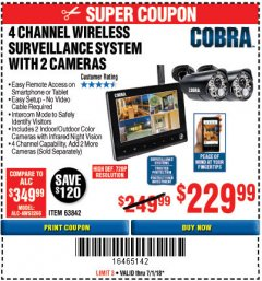 Harbor Freight Coupon 4 CHANNEL WIRELESS SURVEILLANCE SYSTEM WITH 2 CAMERAS Lot No. 63842 Expired: 7/1/18 - $2.29