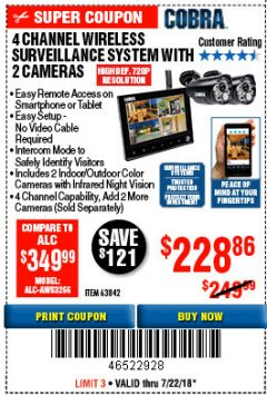 Harbor Freight Coupon 4 CHANNEL WIRELESS SURVEILLANCE SYSTEM WITH 2 CAMERAS Lot No. 63842 Expired: 7/22/18 - $228.86