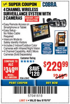 Harbor Freight Coupon 4 CHANNEL WIRELESS SURVEILLANCE SYSTEM WITH 2 CAMERAS Lot No. 63842 Expired: 8/19/18 - $229.99
