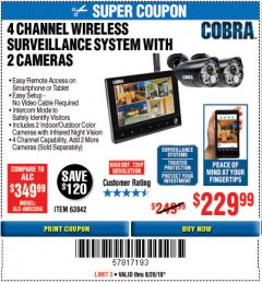Harbor Freight Coupon 4 CHANNEL WIRELESS SURVEILLANCE SYSTEM WITH 2 CAMERAS Lot No. 63842 Expired: 8/26/18 - $229.99