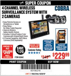 Harbor Freight Coupon 4 CHANNEL WIRELESS SURVEILLANCE SYSTEM WITH 2 CAMERAS Lot No. 63842 Expired: 10/28/18 - $229.99