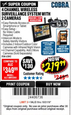 Harbor Freight Coupon 4 CHANNEL WIRELESS SURVEILLANCE SYSTEM WITH 2 CAMERAS Lot No. 63842 Expired: 10/21/18 - $219.99