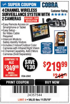 Harbor Freight Coupon 4 CHANNEL WIRELESS SURVEILLANCE SYSTEM WITH 2 CAMERAS Lot No. 63842 Expired: 11/25/18 - $219.99