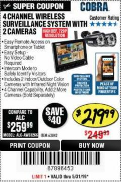 Harbor Freight Coupon 4 CHANNEL WIRELESS SURVEILLANCE SYSTEM WITH 2 CAMERAS Lot No. 63842 Expired: 5/31/19 - $219.99
