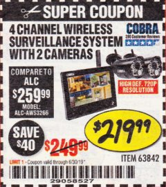 Harbor Freight Coupon 4 CHANNEL WIRELESS SURVEILLANCE SYSTEM WITH 2 CAMERAS Lot No. 63842 Expired: 6/30/19 - $219.99