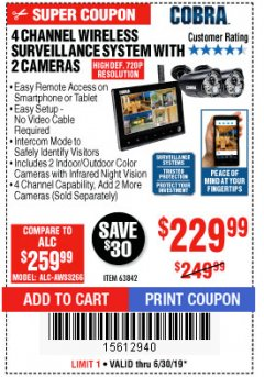 Harbor Freight Coupon 4 CHANNEL WIRELESS SURVEILLANCE SYSTEM WITH 2 CAMERAS Lot No. 63842 Expired: 6/30/19 - $229.99