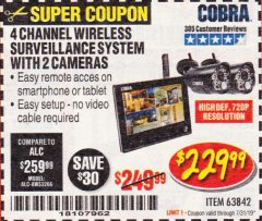 Harbor Freight Coupon 4 CHANNEL WIRELESS SURVEILLANCE SYSTEM WITH 2 CAMERAS Lot No. 63842 Expired: 7/31/19 - $229.99