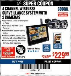 Harbor Freight Coupon 4 CHANNEL WIRELESS SURVEILLANCE SYSTEM WITH 2 CAMERAS Lot No. 63842 Expired: 8/25/19 - $229.99