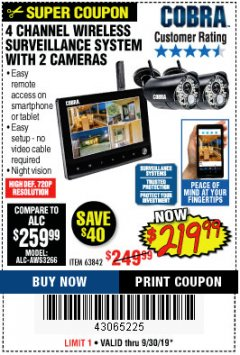 Harbor Freight Coupon 4 CHANNEL WIRELESS SURVEILLANCE SYSTEM WITH 2 CAMERAS Lot No. 63842 Expired: 9/30/19 - $219.99